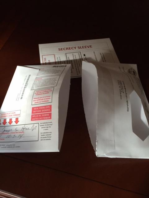 Return envelope sliced open while opening original mailing